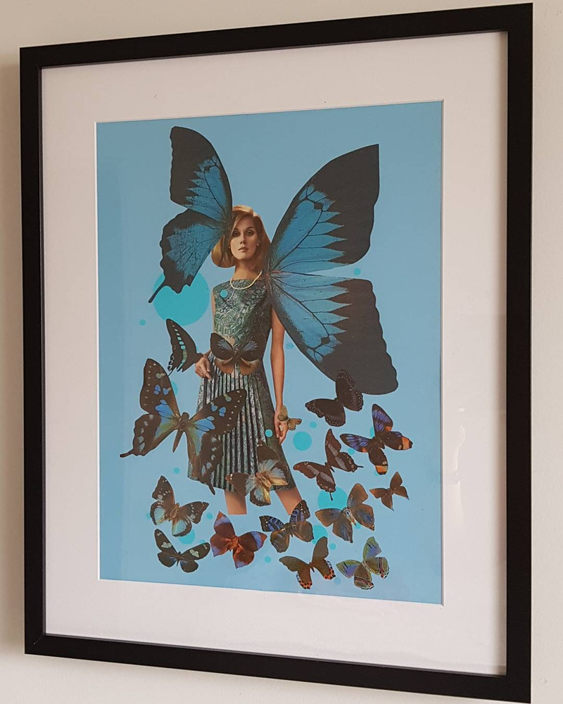 (CreativeWork) 'Blue Butterfly -#1 ' by Karen Coull. mixed-media. Shop online at Bluethumb.