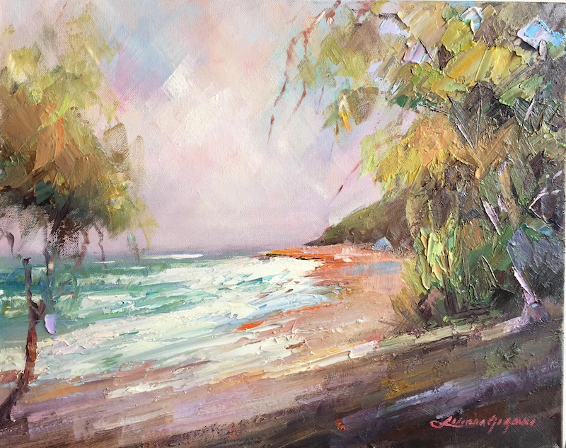 (CreativeWork) Hidden beach by Liliana Gigovic. oil-painting. Shop online at Bluethumb.