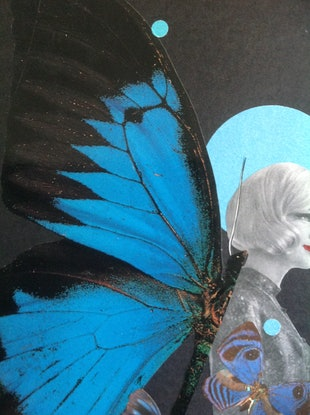 (CreativeWork) 'Blue Butterfly -#3' by Karen Coull. Mixed Media. Shop online at Bluethumb.