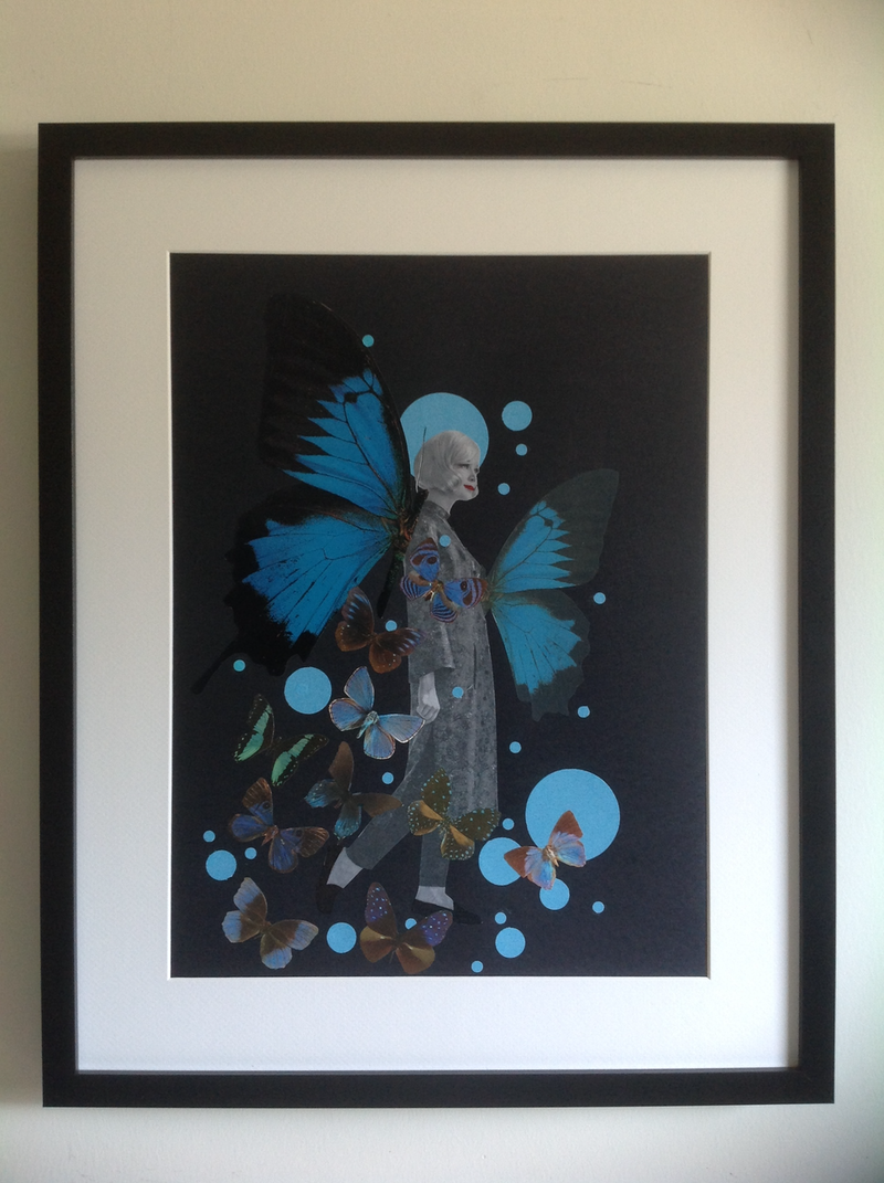 (CreativeWork) 'Blue Butterfly -#3' by Karen Coull. mixed-media. Shop online at Bluethumb.
