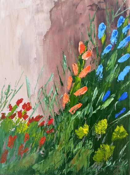 (CreativeWork) Wall Flowers. oil by owen jones. oil-painting. Shop online at Bluethumb.