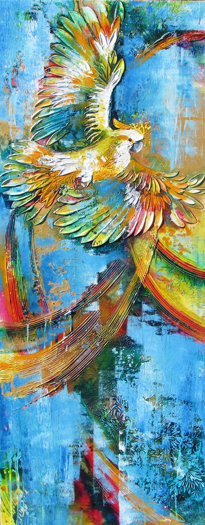 (CreativeWork) Sulphur Wingspan by De Gillett. arcylic-painting. Shop online at Bluethumb.