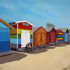 (CreativeWork) Mid morning Brighton Beach by Debra Dickson. arcylic-painting. Shop online at Bluethumb.