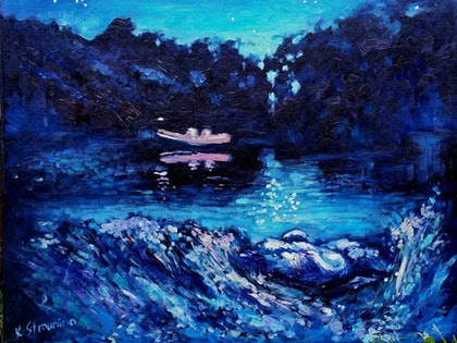 (CreativeWork) Night on the River Thames by Ekaterina Strounina. oil-painting. Shop online at Bluethumb.