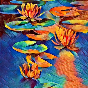 (CreativeWork) Water Lilies 2 Ed. 1 of 25 by Isabelle Caille. print. Shop online at Bluethumb.