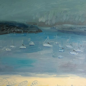 (CreativeWork) Rainy Day, Watsons Bay. by Jennifer Baird. oil-painting. Shop online at Bluethumb.