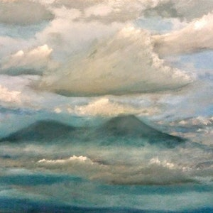 (CreativeWork) head above the clouds by Matthew Simmons. oil-painting. Shop online at Bluethumb.