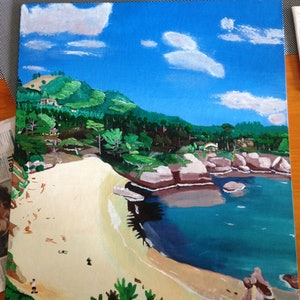 (CreativeWork) Day at the beach by Joshua Escaravage. arcylic-painting. Shop online at Bluethumb.
