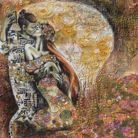 (CreativeWork) The (New Millennial) Kiss by De Gillett Cox. Mixed Media. Shop online at Bluethumb.