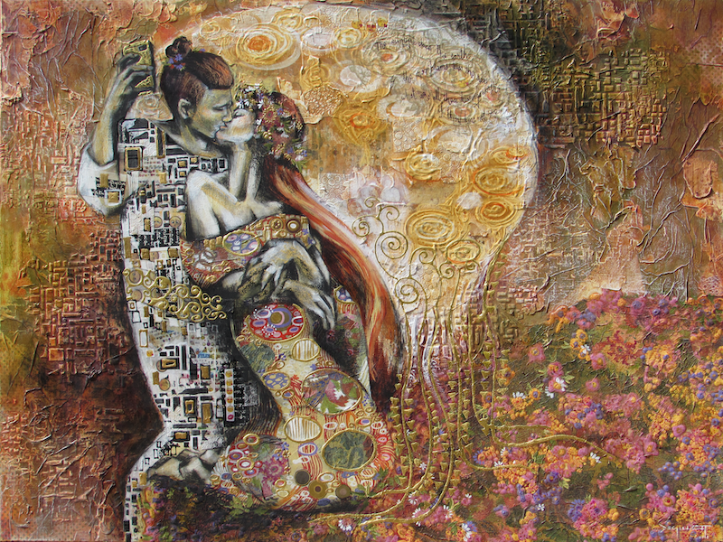 (CreativeWork) The (New Millennial) Kiss by De Gillett Cox. mixed-media. Shop online at Bluethumb.