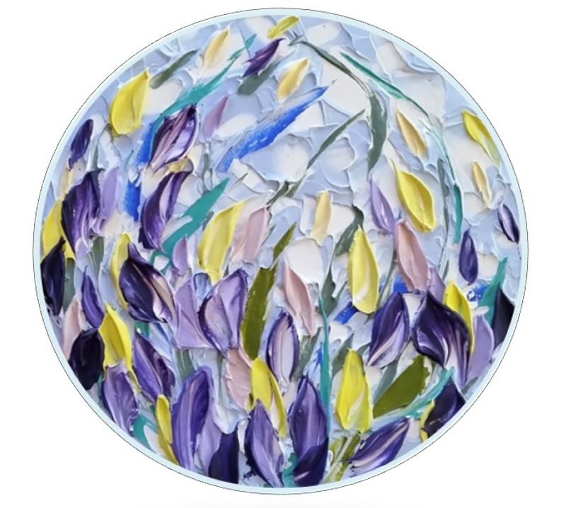 (CreativeWork) Floral Round - 'Iris Buds'  by Desley Wilson. arcylic-painting. Shop online at Bluethumb.