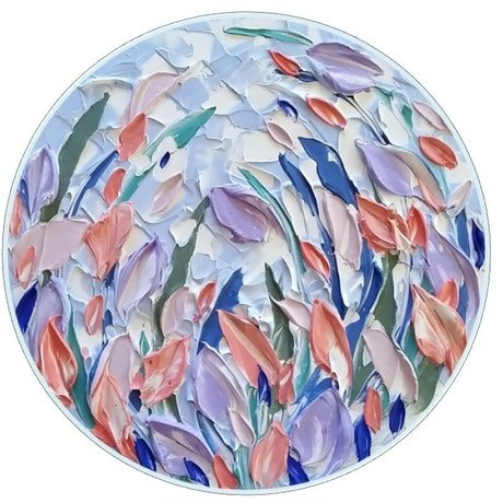 (CreativeWork) Floral Round - 'Pastel Buds' 40 x 40cm Blue White Coral Mauve Abstract Acrylic Texture Flowers by Desley Wilson. Acrylic Paint. Shop online at Bluethumb.
