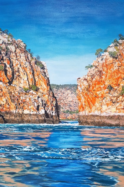 (CreativeWork) Horizontal Waterfalls, Kimberley, W.A. by M.A. Hobbs. oil-painting. Shop online at Bluethumb.
