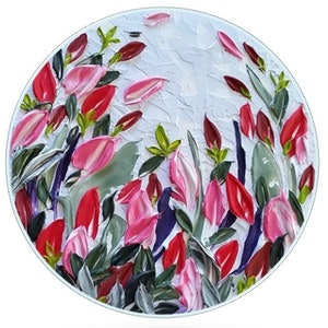 (CreativeWork) Floral Round - 'Rose Buds' by Desley Wilson. arcylic-painting. Shop online at Bluethumb.