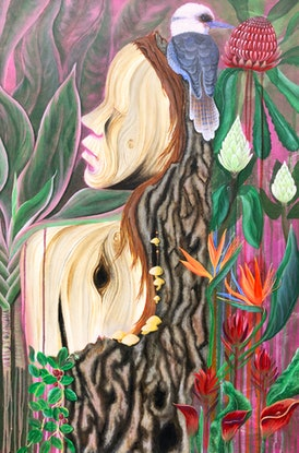 (CreativeWork) Lady of the Garden by Andrea Marriette. Acrylic Paint. Shop online at Bluethumb.