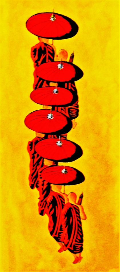 (CreativeWork) Morning Alms  by Rick Lowe. arcylic-painting. Shop online at Bluethumb.