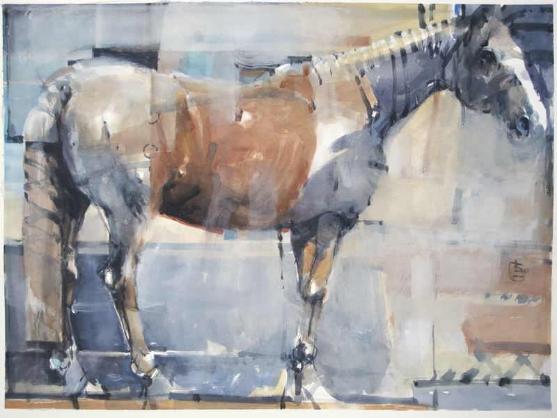 (CreativeWork) Electric Horse by Tony Belobrajdic. Watercolour Paint. Shop online at Bluethumb.