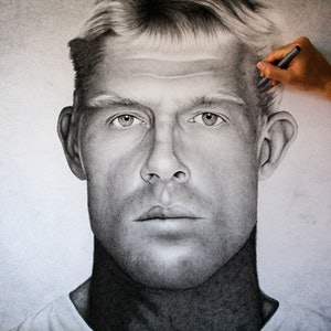 (CreativeWork) Mick Fanning by Dean Spinks. drawing. Shop online at Bluethumb.