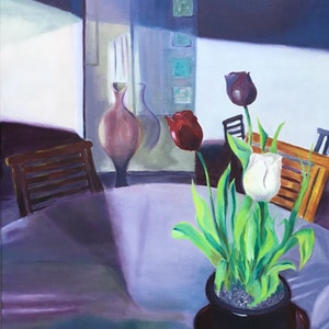 (CreativeWork) Tulips on the Patio by Graeme Symons. arcylic-painting. Shop online at Bluethumb.