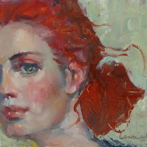 (CreativeWork) Ponytail by Lorraine Lewitzka. oil-painting. Shop online at Bluethumb.