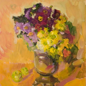 (CreativeWork) Flowers by Dumitru Bostan Jr.. oil-painting. Shop online at Bluethumb.