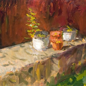 (CreativeWork) Flowerpots by Dumitru Bostan Jr.. oil-painting. Shop online at Bluethumb.