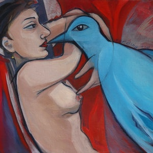 (CreativeWork) Feeding the dream by Liza Merkalova. oil-painting. Shop online at Bluethumb.