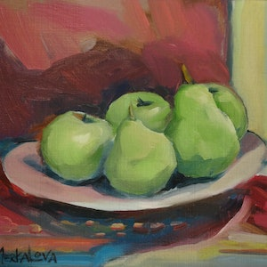 (CreativeWork) Pears, morning by Liza Merkalova. oil-painting. Shop online at Bluethumb.