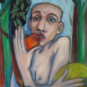 (CreativeWork) Eve by Liza Merkalova. oil-painting. Shop online at Bluethumb.