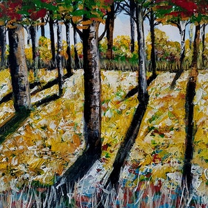 (CreativeWork) Textured Forrest  by Michelle Baumann. arcylic-painting. Shop online at Bluethumb.