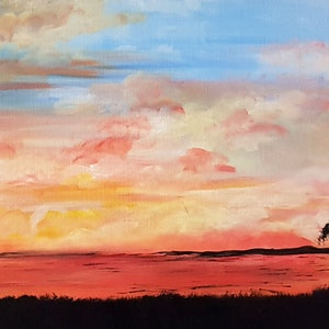 (CreativeWork) Outback sunset by Michelle Baumann. arcylic-painting. Shop online at Bluethumb.