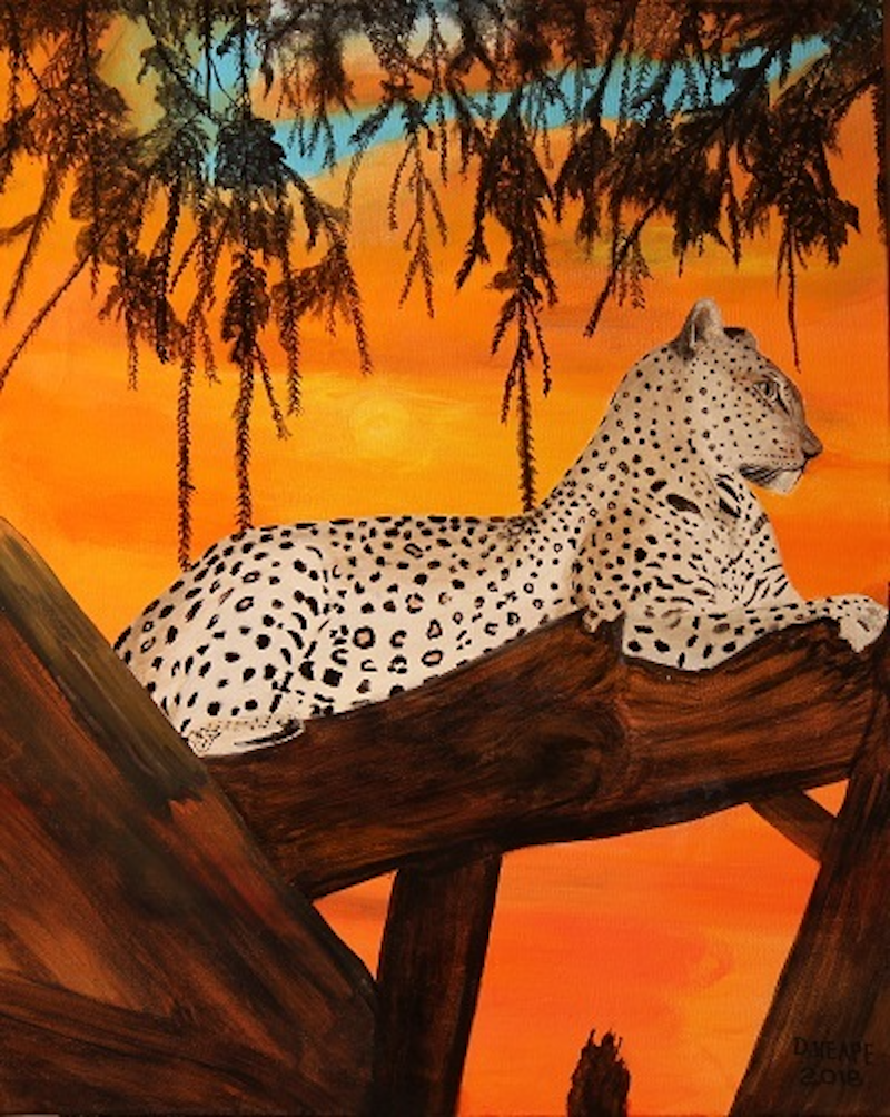 (CreativeWork) Leopard In Tree by Dennis Heape. arcylic-painting. Shop online at Bluethumb.