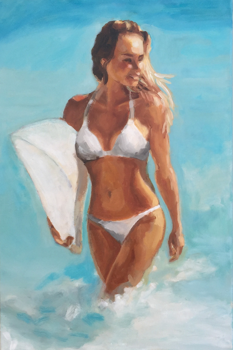 (CreativeWork) Beach Babe by TeMoana .. oil-painting. Shop online at Bluethumb.