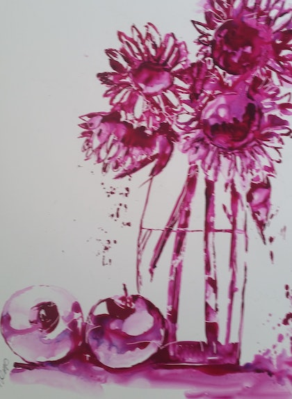 (CreativeWork) Red Violet by Leanne Kremp. watercolour. Shop online at Bluethumb.