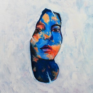 (CreativeWork) Miss Blue Sky by Rebecca Read. oil-painting. Shop online at Bluethumb.