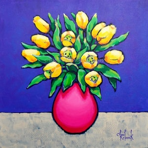 (CreativeWork) Yellow Tulips in Pink Vase by Olga Kolesnik. arcylic-painting. Shop online at Bluethumb.