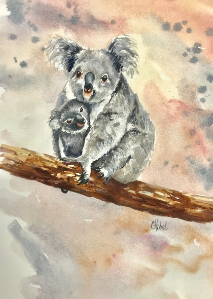 (CreativeWork) Koala and Baby' by Chris Hobel. watercolour. Shop online at Bluethumb.