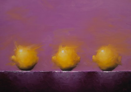 (CreativeWork) Three of a kind - Still life with lemons by Damien Venditti. oil-painting. Shop online at Bluethumb.