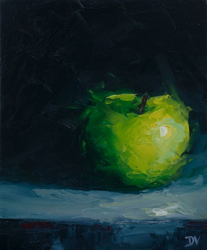 (CreativeWork) STILL LIFE - Apple #10 by Damien Venditti. oil-painting. Shop online at Bluethumb.
