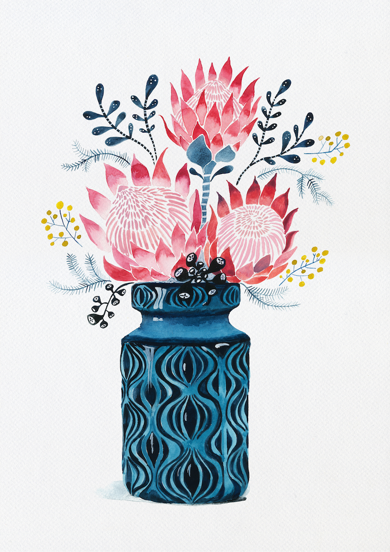 (CreativeWork) Pink Proteas in West German Onion Vase Ed. 10 of 25 by Sally Browne. print. Shop online at Bluethumb.