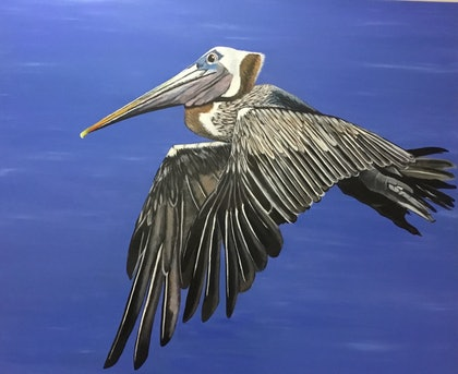 (CreativeWork) Pelican in flight by Maria Reynolds. arcylic-painting. Shop online at Bluethumb.