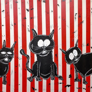 (CreativeWork) Cat 'ch Up by Leith Kennedy. mixed-media. Shop online at Bluethumb.