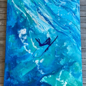 (CreativeWork) With the Wave, Surfer Girl Original, ocean, underwater, surf & free by Alanah Jarvis. arcylic-painting. Shop online at Bluethumb.