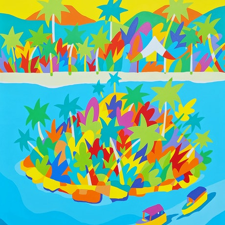 (CreativeWork) Cook Islands, Muri Beach - Rarotonga by Bruno Mota. Acrylic Paint. Shop online at Bluethumb.