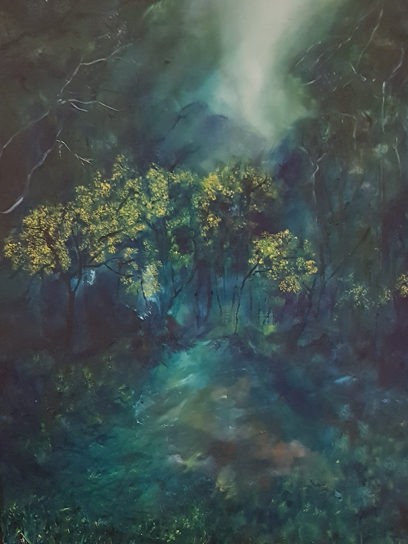 (CreativeWork) Follow Me In by Fae Ballingall. oil-painting. Shop online at Bluethumb.