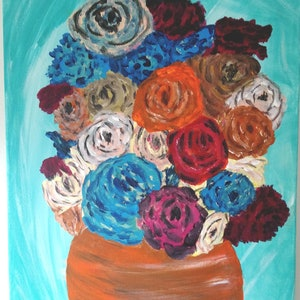 (CreativeWork) Retro Roses by Becky Thornton. arcylic-painting. Shop online at Bluethumb.