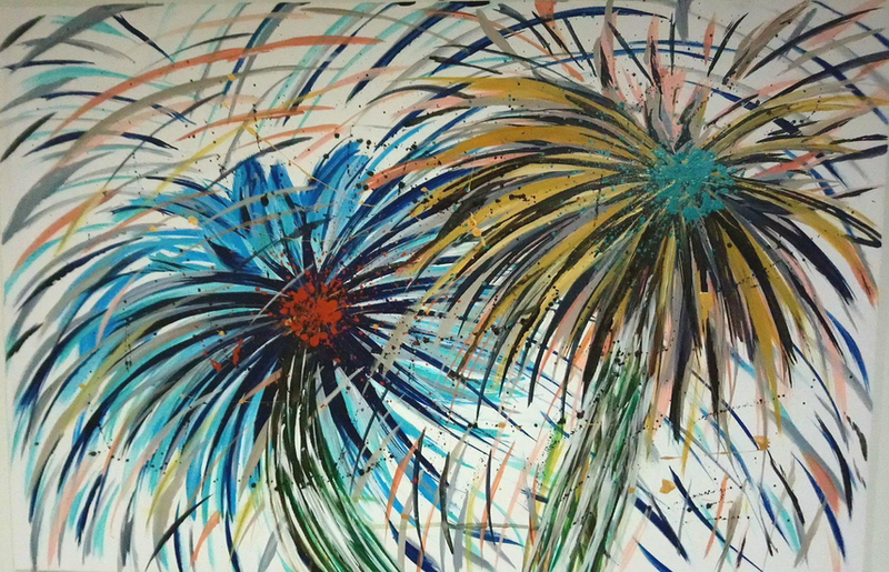 (CreativeWork) The Daisy Dance by Becky Thornton. arcylic-painting. Shop online at Bluethumb.