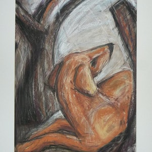 (CreativeWork) Dog resting amongst branches by Jennifer Moore. drawing. Shop online at Bluethumb.