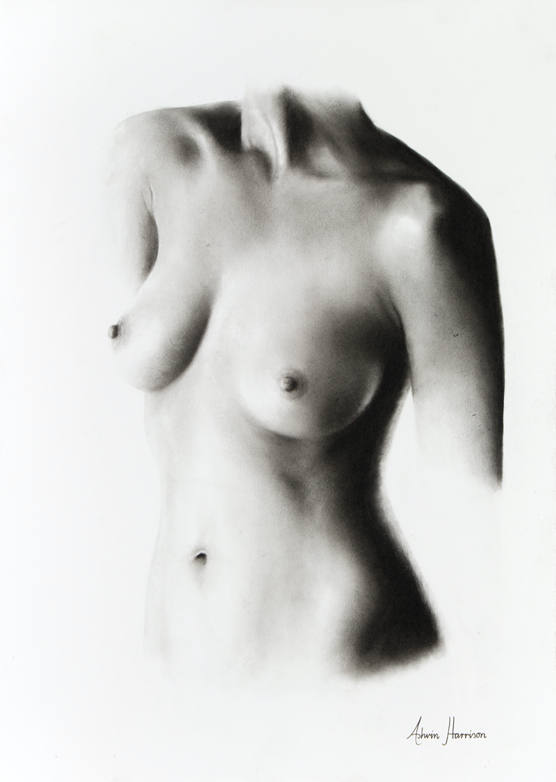 (CreativeWork) Nude Woman Charcoal Study 58 by Ashvin Harrison. drawing. Shop online at Bluethumb.