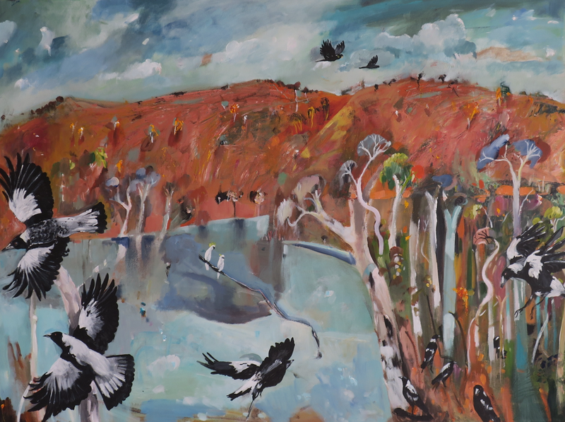 (CreativeWork) Magpies by the Billabong by Susan Trudinger. arcylic-painting. Shop online at Bluethumb.